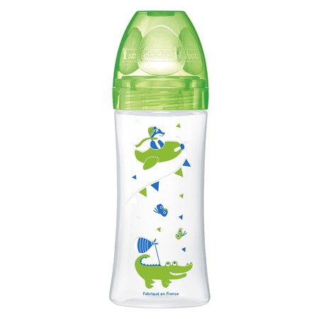Dodie Biberon Sensation + 330 ml Vert Dinosaure  +6 Mois Tétine Plate Débit 3