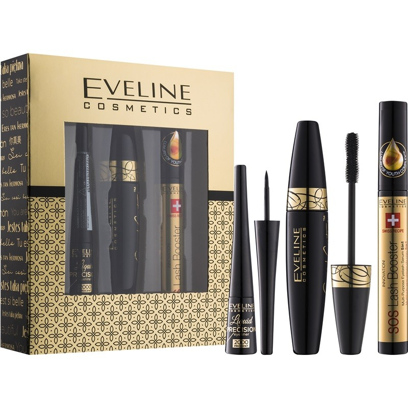 Pack Eveline Cosmetics (Mascara Grand Couture, Eylash Bosster, Eyeliner Liquid Precision)