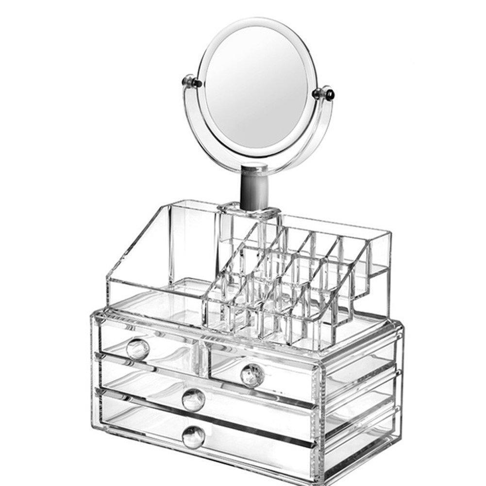 Organisateur de maquillage et bijoux avec miroir