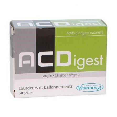 ACDigest - Lourdeurs et ballonnements - Argile et Charbon Végétal (30 Gélule)