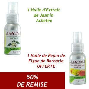 Offre Amona Huile d'extrait de JASMIN 50ml+ Huile de pepin de Figue de Barbarie 50ml OFFERT