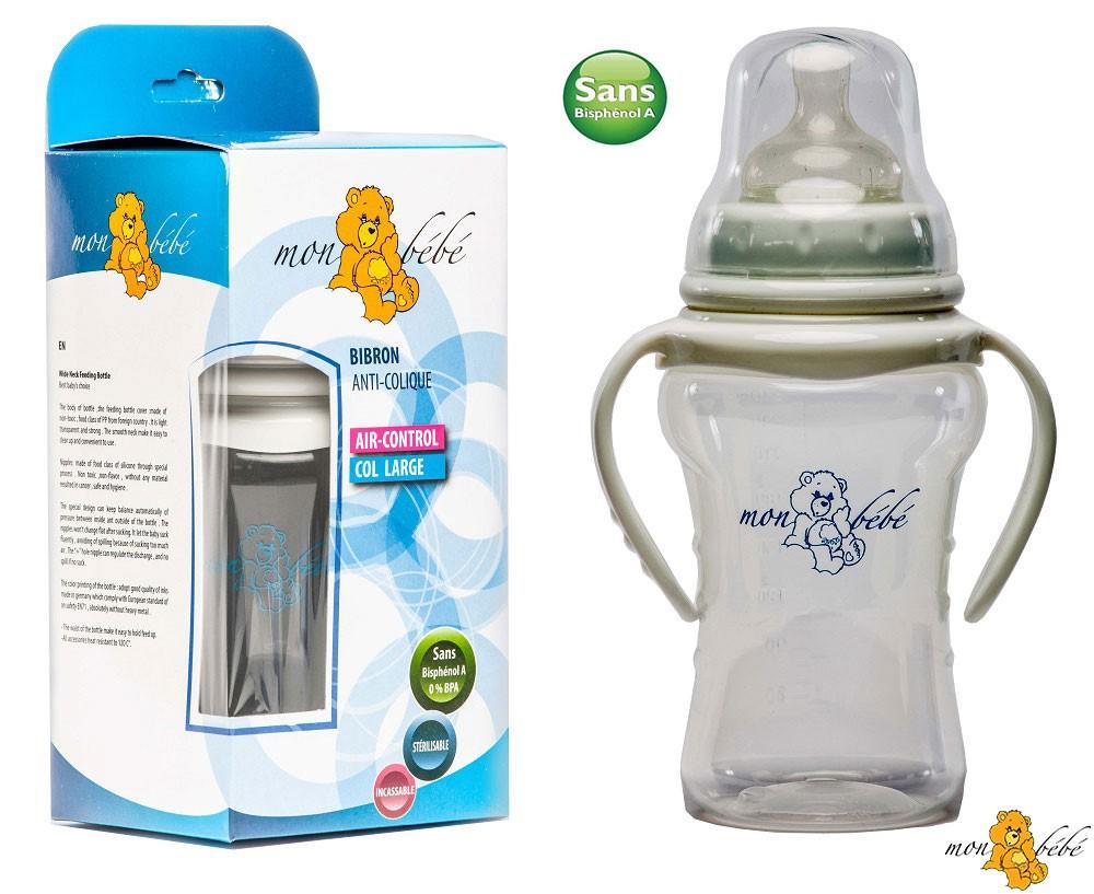 Mon bebe biberon anti collique air-control, avec anses 270ml, sans BPA