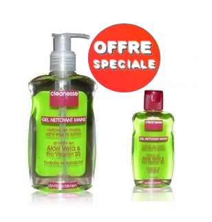 Promotion CLEANESSE gel nettoyant mains antibactérien 250ml (CLEANESSE gel nettoyant mains antibactérien 100ml Offert)