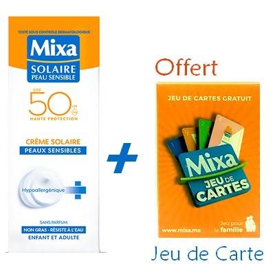 MIXA Solaire Peau Sensible CREME SOLAIRE TOLÉRANCE OPTIMALE SPF50 75ml + Jeu de Carte Offert Réf : 6111041124052