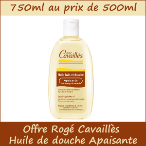 Huile de douche Apaisante Rogé Cavaillès 750ml au prix de 500ml