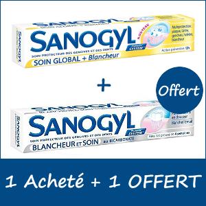 Offre Pack Sanogyl Dentifrice Soin Global 75ml + Dentifrice soin Blancheur 75ml OFFERT