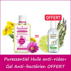 Offre Puressentiel Huile de Soin anti-rides Rose Musquée 100ml + Gel Anti-bactérien Assainissant 80ml OFFERT