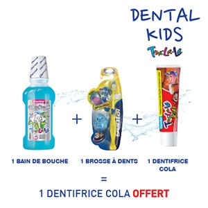 Dental kids bain de bouche 300ml + Brosse à dents + Dentifrice cola 50ml = 1 Dentifrice Dental kids cola 50ml offert