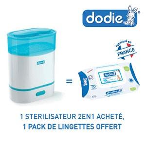 Dodie stérilisateur express 2 en 1 = 1 pack lingettes Dodie offert