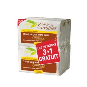 Pack Rogé Cavaillès Savon surgras extra-doux amande verte 250G X3 + 1 OFFERT