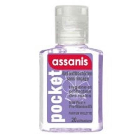 Assanis Pocket violette Gel Antibacterien Aloé vera + Pro-vitamine B5 sans Rinçage 20 ml