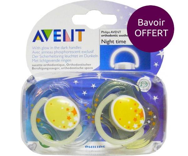 AVENT Sucettes nuit BPA FREE réf SCF176/68 + Bavoir OFFERT