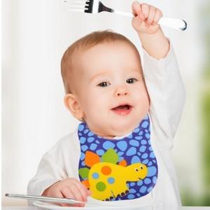 Baby bib dino bavoir en plastique waterproof bleu