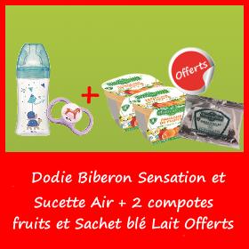Offre Dodie Biberon Sensation et Sucette Air + 2 compotes fruits et Sachet blé Lait Offerts