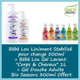 Offre Bio seasons - Gel Lavant Bébé Lou 1 litre + Liniment stabilisé 500ml + Gel Douche Adulte 300ml Offert