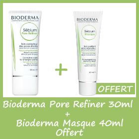 Offre Bioderma Sebium Pore Refiner 30ml + Sebium masque 40ml OFFERT
