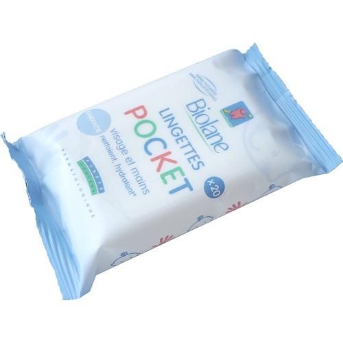 Biolane Lingettes Pocket- Nettoyage et Hydratation Visage et mains (x20)