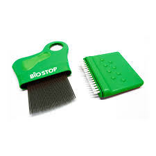 Biostop Contrepoux Peigne poux métallique avec loupe + brosse de nettoyage intégrée