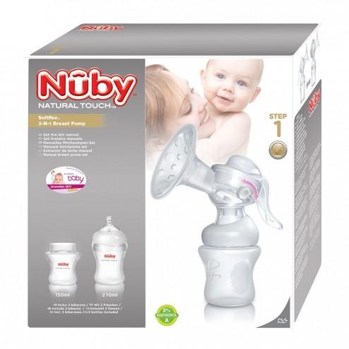 Nûby Tire-lait manuel +1 biberon 150ml + 1 biberon 240 ml + 1 couvercle + 2 coussinets Réf : NT72035