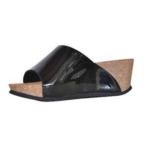 Confort line orthopedic sandales compensées cuir vernis noir