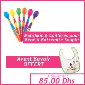 Offre bébé - Munchkin 6 Cuillères pour Bébé à Extrémité Souple - Bavoir Avent OFFERT