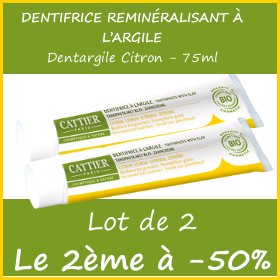 Offre CATTIER Dentifrice Dentargile Citron 75ml - Lot de 2 - le 2ème à -50%