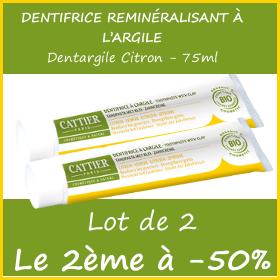 Offre CATTIER Dentifrice Dentargile Citron 75ml - Lot de 2 - le 2ème à -50%