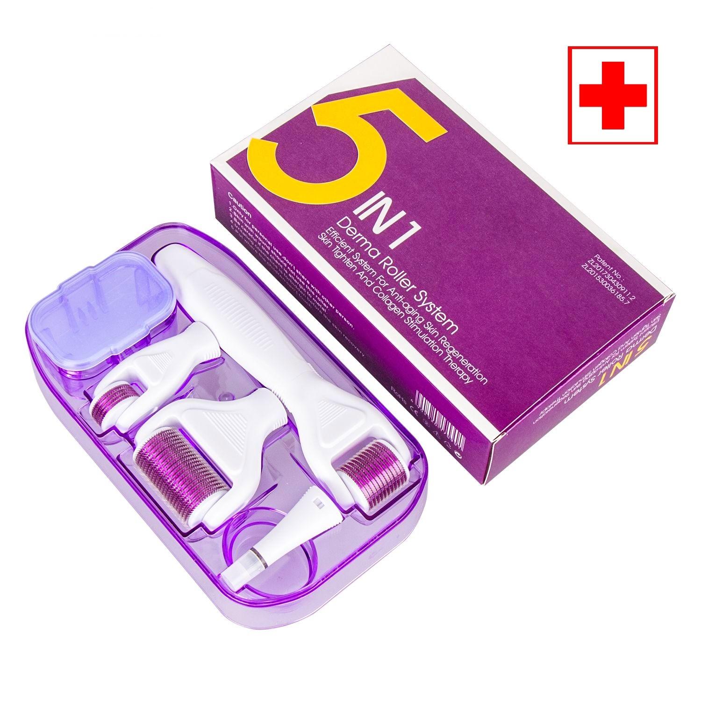 DRS profetionnel 5 en1 Derma Skin derma Roller stimulation du collagene avec des aiguilles de titanium de 1.5+0.5+1.0+1.5mm avec stamp