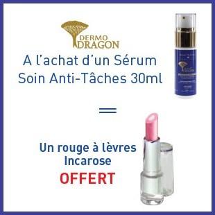Offre Dermo dragon sérum anti-taches 30ml = un rouge à lèvres offert