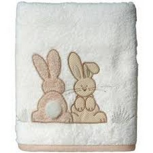 Dodie serviette brodee lapin 50x90cm