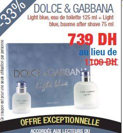 Promotion DOLCE & GABBANA Light blue eau de toilette 125 ml + Light blue baume after shave 75 ml