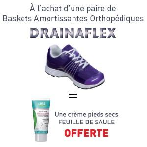 Baskets amortissantes DRAINAFLEX Prune = Crème Pieds OFFERTE