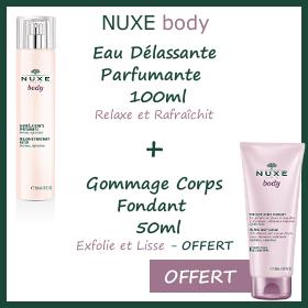Offre Nuxe body Eau Délassante Parfumante 100ml + Gommage Corps Fondant 50ml OFFERT