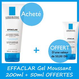 Offre La Roche-Posay Effaclar Gel moussant purifiant (200 ml) (tube de 50 ml Offert )
