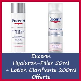 Offre Eucerin hyaluron-filler soin de jour peau normale à mixte 50ml + Lotion Clarifiante 200ml OFFERTE