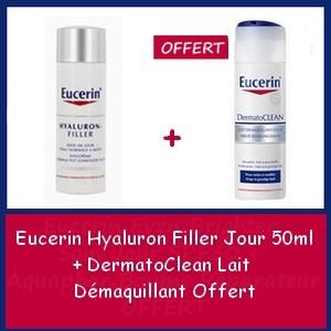 Offre Eucerin Hyaluron Filler Jour (PNM) 50ml + Eucerin DermatoClean Lait Démaquillant Offert