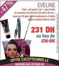 Promotion Eveline Pack : art scenic 3 en 1, base fluide et correcteur de teint bio 24h spf10 40 ml + mascara 3D glam effect waterproof+ Eveline crayon eyeliner Marron offert