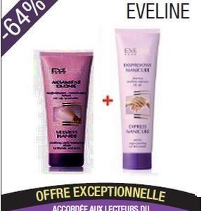 Promotion Eveline mains veloutées Elixir lissant et hydratant mains et ongles 100 ml+ Eveline crème anti-crevasses talons pieds effet 7 jours 100 ml offerte