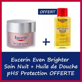 Offre Eucerin Even Brighter soin de Nuit 50ml + Huile de Douche pH5 Protection 200ml OFFERTE