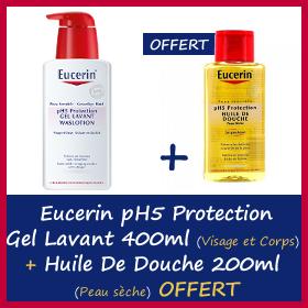 Offre Eucerin ph5 protection Gel lavant 400ml + Huile de douche 200ml Offerte