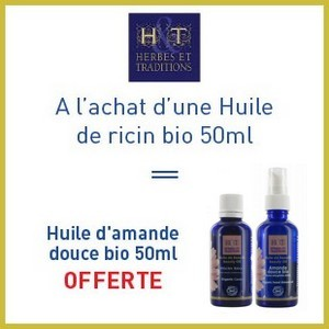 Offre Herbes et traditions huile de ricin bio 50ml = Huile d'amande douce bio 50ml offerte