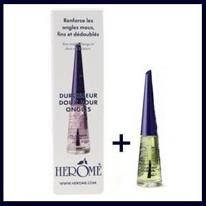 offre Herôme Durcisseur doux pour ongles 10 ml + Herôme Huile nourrissante pour les ongles 4 ml offert
