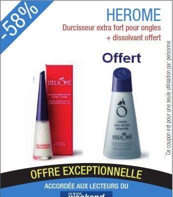 Promotion Herôme durcisseur Extra fort (10 ml)+ Dissolvant sans acétone (120 ml)