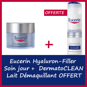 Offre Eucerin Hyaluron-Filler Soin jour 50ml + Dermatoclean lait démaquillant 200ml Offert