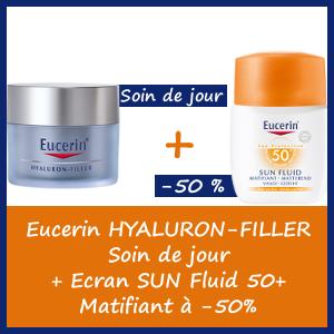 Offre Eucerin Hyaluron-Filler Soin Anti-rides Jour 50ml + Ecran Sun Fluid Matifiant 50ml à -50%