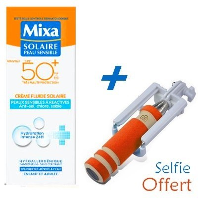 MIXA Solaire Peau Sensible Crème Fluid SPF50 75ml +Baton à Selfie Offert- Réf : 6111041124045