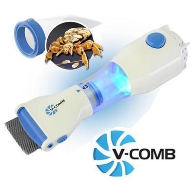 V-COMB Traitement Contre les Poux Sans Allergie et Sans Produits Chimiques - Peigne à Poux électrique + aspirateur - VS-801