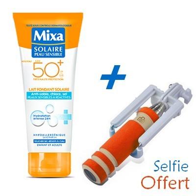 MIXA Solaire Peau Sensible Lait Fondant  SPF50 200ml + Baton à Selfie Offert Réf : 6111041124069