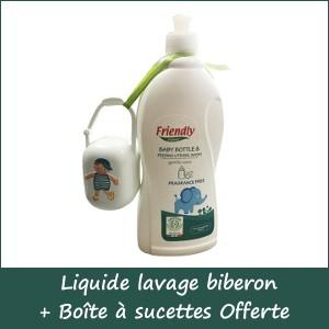Offre Liquide lavage biberon freindly organic 750 ml + boîte à sucettes Chippi Offerte