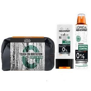 Offre L'OREAL Men Expert Sensitive Control Déodorant Spray Homme 0% (200 ml)+ Hydra Sensitive Gel Douche 300 ml (Trousse Offerte)